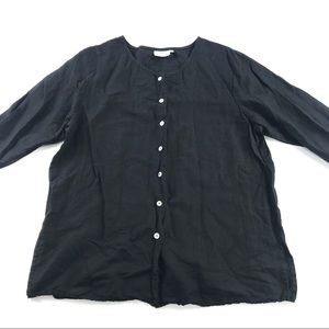 Hot Cotton Button Front Top Black 1X